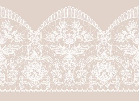 Poziomo bezszwowe beżowe tło i biała koronkowa wstążka z kwiatowym wzorem