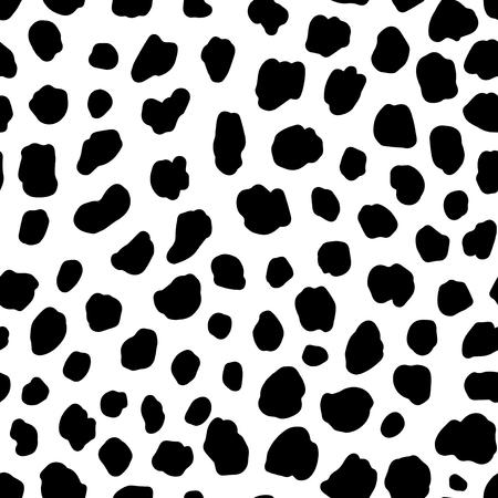 Dalmatian dog seamless pattern. Animal print. White seamless background with black spots