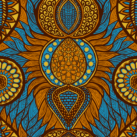 African print in blue, orange and yellow colors. Colorful ethnic seamless pattern Vectores