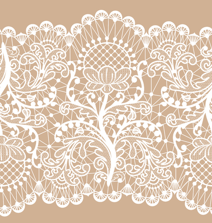 Horizontally seamless beige lace background with floral pattern
