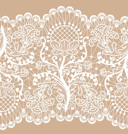 Poziomo bezszwowe beżowe tło koronki z kwiatowym wzorem