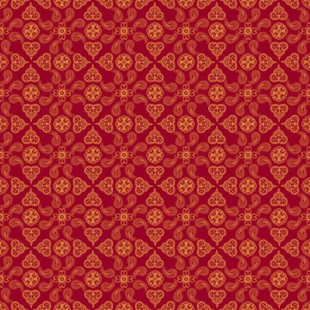 Indian traditional pattern on red background. Seamless pattern Illusztráció