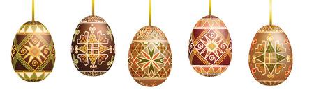 Huevos de Pascua Pysanky aislados en blanco. Huevos de pascua ucranianos tradicionales. Ilustración de vector