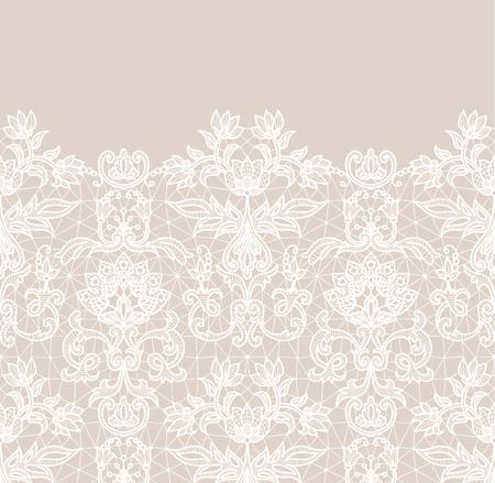Horizontal nahtloser beiger Spitzenrandhintergrund mit Blumenmuster