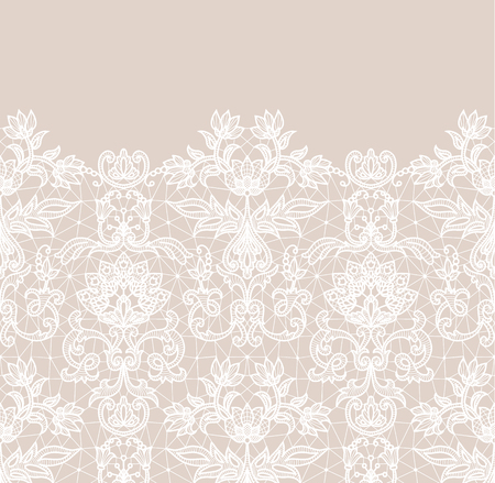 Horizontally seamless beige lace border background with floral pattern