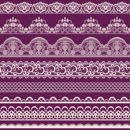 Horizontally seamless red lace background with ribbons Vektoros illusztráció