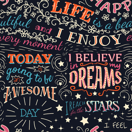 Colorful lettering with positive affirmations. Seamless pattern