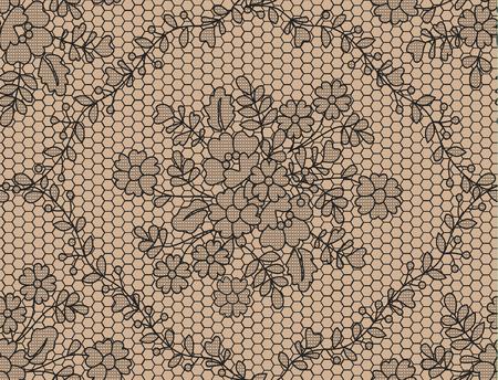Fondo de encaje negro transparente con estampado de flores Ilustración de vector