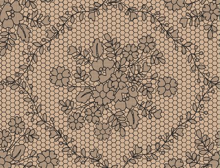 Seamless black lace background with floral pattern Vector Illustratie