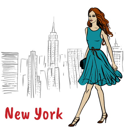 Woman walking in New York, USA. Fashion illustration Illusztráció