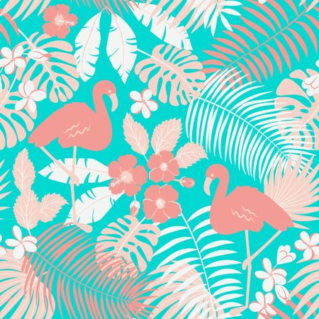 Modello senza cuciture tropicale con fenicotteri, palme e fiori Vettoriali