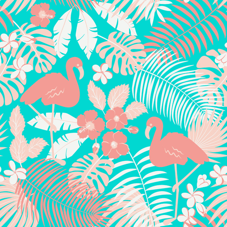 Trópico de patrones sin fisuras con flamencos, palmeras y flores. Ilustración de vector