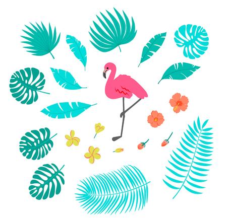 Summer set with flamingo, palm leaves and tropical flowers Ilustração