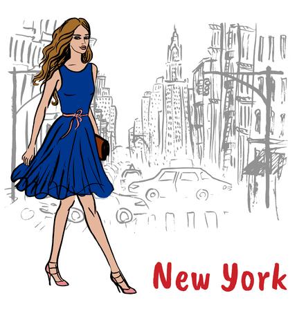 Giovane donna a New York, Stati Uniti d'America. Illustrazione di moda