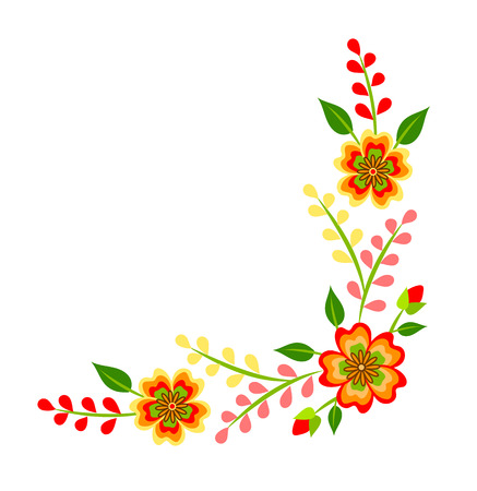 Mexican colorful bright floral corner decoration isolated on white