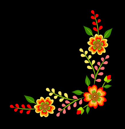 Mexican colorful bright floral corner decoration on black background