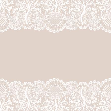 Fond de dentelle beige horizontalement transparente avec des bordures de dentelle blanche