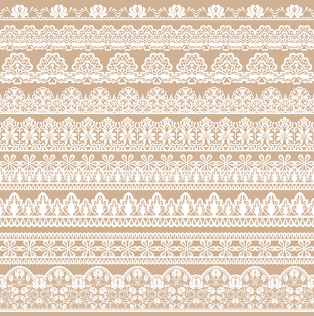 Horizontally seamless beige lace background with lace ribbons