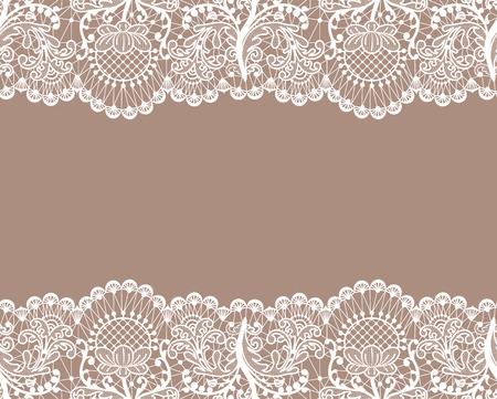Fond de dentelle beige horizontalement transparente avec bordures en dentelle Vecteurs