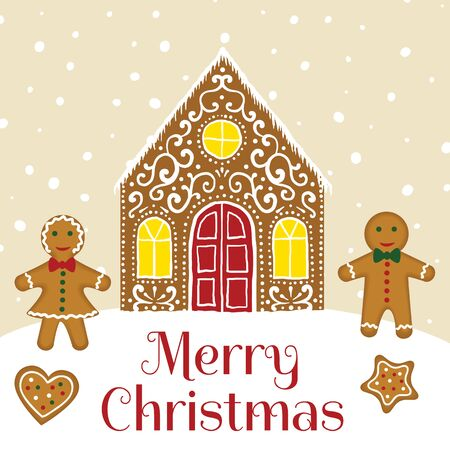 Gingerbread house card 向量圖像