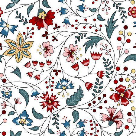 Patrón floral transparente en estilo chintz sobre fondo blanco.