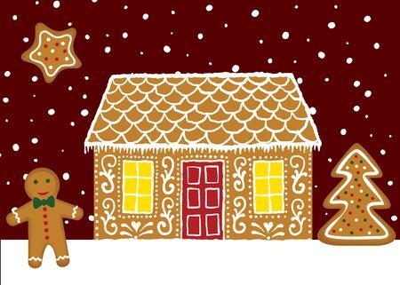 Weihnachtskarte mit Lebkuchenhaus