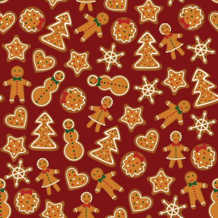 Christmas gingerbread seamless pattern on dark red background