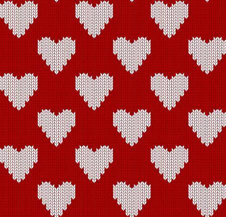 Knitted pattern with hearts 矢量图像