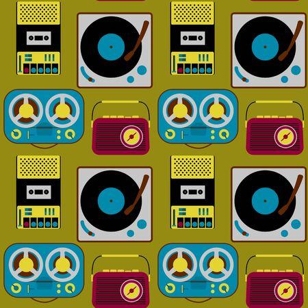 Vintage electronics seamless pattern Vektorové ilustrace