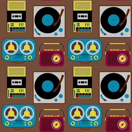 Vintage electronics seamless pattern