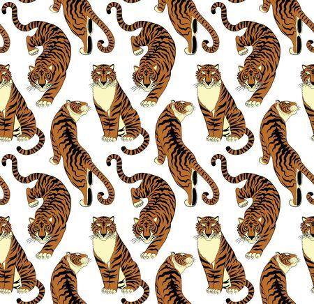 Tigers seamless pattern