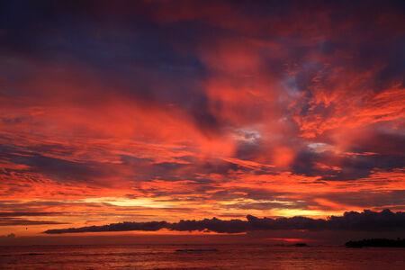 the decline: decline, red decline, evening, sky, clouds, beach, beautiful sky Stock Photo