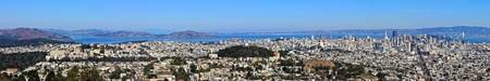 San Francisco Panorama view from Twin Peaks onto Downtown, Market Street and the Golden Gate Bridge