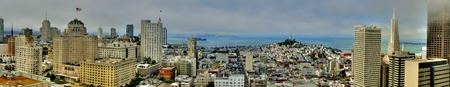 San Francisco Panorama view on a cloudy day from top of the Hyatt Hotel in Union Square