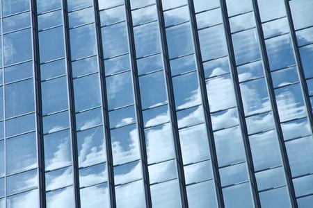 sky scraper: Reflection of the sky in a sky scraper