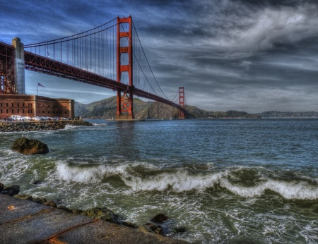 golden: Golden Gate Bridge in HDR close up