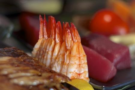 Fresh ebi shrimp at a sushi bar Stock Photo