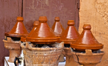 Moroccan tajines at a souk restaurant in Marrakesh photo