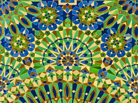 Moroccan tile on the wall of the Mosque Hassan II in Casablanca Morocco Фото со стока