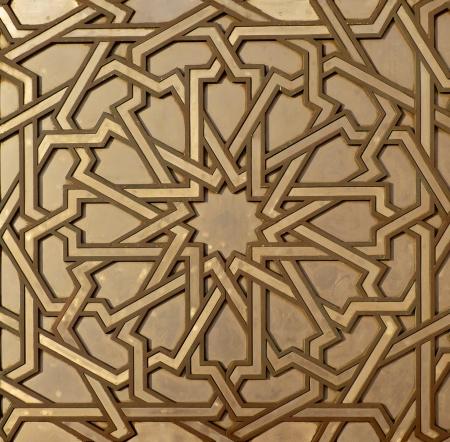 Marokkaanse arabesk ontwerp op de poorten van de moskee Hassan II in Casablanca Marokko