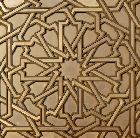 Moroccan arabesque design on the gates of the Mosque Hassan II in Casablanca Morocco 免版税图像