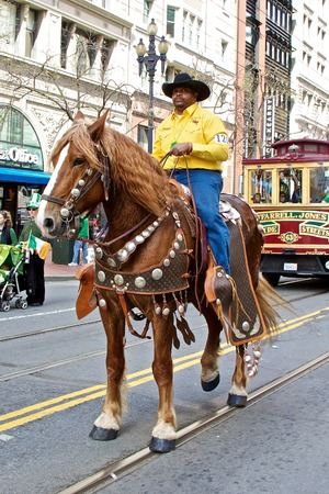 march 17: Clydesdale and his rider at Saint Patrick
