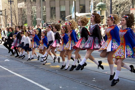 march 17: Young girls dancing riverdance at Saint Patrick