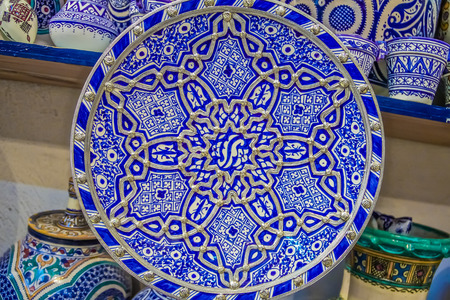 embellished: Traditional Moroccan embellished plate decorated with ornate silver filigree
