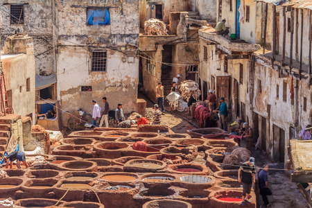 Fes, Morocco - May 11, 2013: Workers handling hides at a tannery in Fes, Morocco