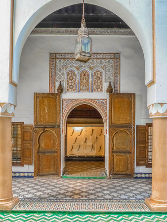 Traditional Moroccan style design of an ancient doorway in a riad in Marakech, Morocco