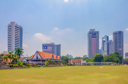 merdeka: Kuala Lumpur, Malaysia - August 16, 2013: City skyline and skyscrapers on Merdeka Square, or Independence Square,