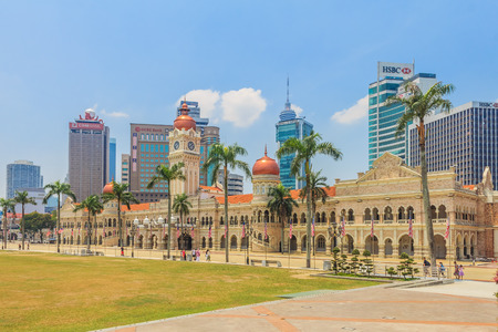 merdeka: Kuala Lumpur, Malaysia - August 16, 2013: The Sultan Abdul Samad Building on the Independence Square which houses the Ministry of Information Communications and Culture.