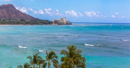 View of Waikiki and Diamond Head in Honolulu Hawaii USA
