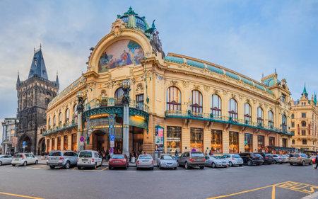 January 14, 2015 - Prague, Czech Republic: Art nouveau building, Municipal House, theatre and opera house at the Republic Square Editorial